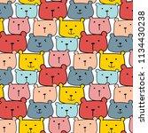 cute bears vector pattern... | Shutterstock .eps vector #1134430238