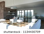 modern bright living room... | Shutterstock . vector #1134430709