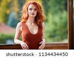 beauty romantic girl outdoors... | Shutterstock . vector #1134434450