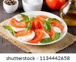 close up photo of caprese salad ... | Shutterstock . vector #1134442658