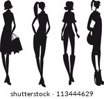 silhouette fashion girls | Shutterstock .eps vector #113444629