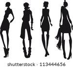 silhouette fashion girls | Shutterstock .eps vector #113444656