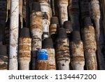 oil drill pipe. rusty drill... | Shutterstock . vector #1134447200
