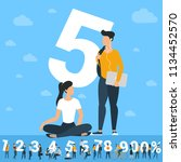 big five number. white numbers  ... | Shutterstock .eps vector #1134452570