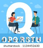 big q letter. white letter with ... | Shutterstock .eps vector #1134452630