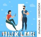 big j letter. white letter with ... | Shutterstock .eps vector #1134452654