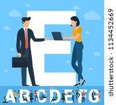 big e letter. white letter with ... | Shutterstock .eps vector #1134452669