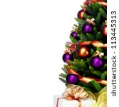 Decorated Christmas Tree White Background - Fine Art prints