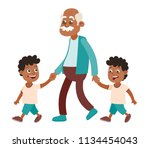 grandfather with his... | Shutterstock .eps vector #1134454043