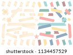 colorful and white adhesive ... | Shutterstock .eps vector #1134457529