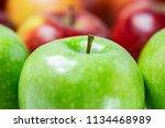 green apples  oranges and red... | Shutterstock . vector #1134468989