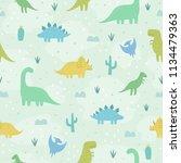 cute cartoon dinosaurs. vector... | Shutterstock .eps vector #1134479363