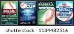 baseball poster set vector.... | Shutterstock .eps vector #1134482516