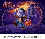 happy halloween illustration...   Shutterstock .eps vector #1134488813