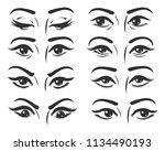 set of female eyes. beautiful... | Shutterstock .eps vector #1134490193