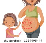 pregnant woman belly and her... | Shutterstock .eps vector #1134495449