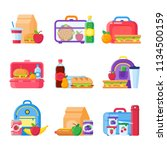 school kid lunch box. healthy... | Shutterstock .eps vector #1134500159