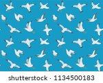 seagulls seamless pattern.... | Shutterstock .eps vector #1134500183