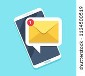 flat email notification on... | Shutterstock .eps vector #1134500519
