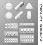 pills 3d set. white tablet ... | Shutterstock .eps vector #1134500528
