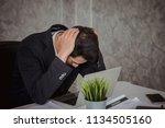 business man working hard tired ... | Shutterstock . vector #1134505160