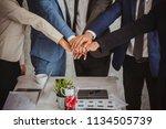 concept of teamwork. business... | Shutterstock . vector #1134505739