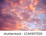 rose golden sunset sky with...   Shutterstock . vector #1134507020