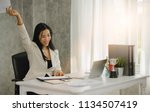 successful business woman with... | Shutterstock . vector #1134507419