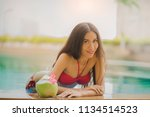 young asian woman with red...   Shutterstock . vector #1134514523