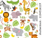 seamless pattern jungle animals ... | Shutterstock .eps vector #1134516119