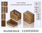 laser cutting. carved openwork... | Shutterstock .eps vector #1134520343