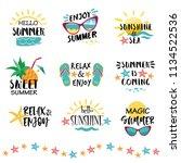 summer labels  logos  hand... | Shutterstock .eps vector #1134522536