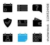 ui ux glyph icons set. calendar ...