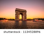 arch of triumph at twilight.... | Shutterstock . vector #1134528896