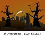 grim reaper in cemetery and...   Shutterstock .eps vector #1134531614