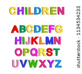 multicolored painted alphabet... | Shutterstock .eps vector #1134534233