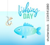fishing day illustration with... | Shutterstock .eps vector #1134541880