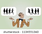 the scientist shows the purpose ... | Shutterstock .eps vector #1134551360