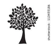 black oak tree  stylized ... | Shutterstock .eps vector #113455186
