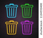 trash bin neon light glowing... | Shutterstock .eps vector #1134553400
