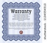 blue retro warranty certificate ... | Shutterstock .eps vector #1134554513