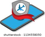 airplane and smartphone on... | Shutterstock .eps vector #1134558050