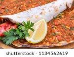 turkish foods  turkish pizza  ... | Shutterstock . vector #1134562619