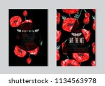 elegant cards with decorative... | Shutterstock .eps vector #1134563978