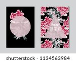 elegant cards with decorative... | Shutterstock .eps vector #1134563984