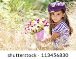 happy girl on the meadow with... | Shutterstock . vector #113456830