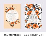 elegant cards with decorative... | Shutterstock .eps vector #1134568424