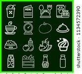 set of 16 food outline icons... | Shutterstock . vector #1134572390
