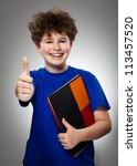 student showing ok sign on gray ... | Shutterstock . vector #113457520