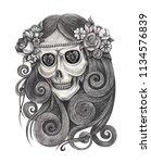 art women skull day of the dead....   Shutterstock . vector #1134576839
